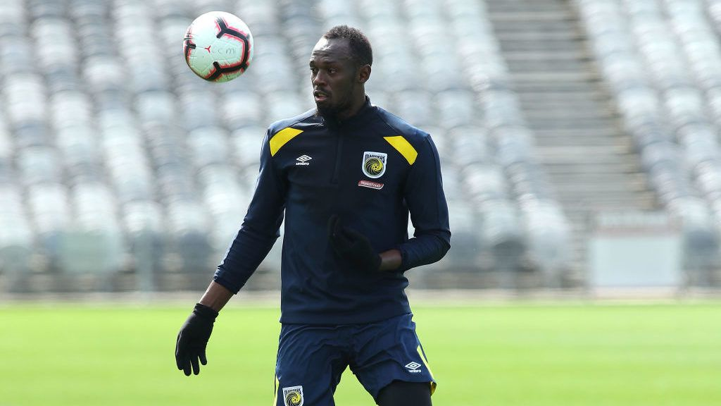 GOSFORD, AUSTRALIA - AUGUST 28:  Usain Bolt trains during a Central Coast Mariners training session at Central Coast Stadium on August 28, 2018 in Gosford, Australia.  (Photo by Tony Feder/Getty Images)