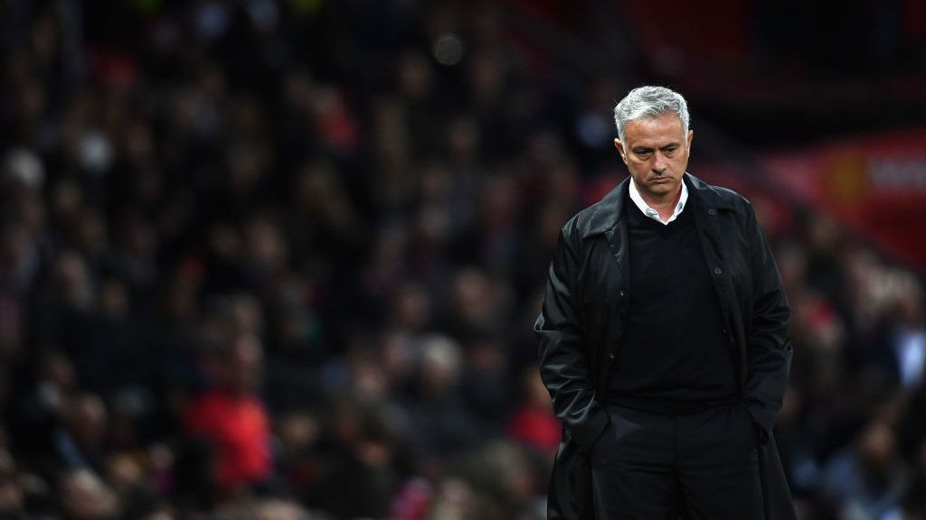 MANCHESTER, ENGLAND - AUGUST 27:  Jose Mourinho, manager of Manchester United in action during the Premier League match between Manchester United and Tottenham Hotspur at Old Trafford on August 27, 2018 in Manchester, United Kingdom.  (Photo by Clive Mason/Getty Images)