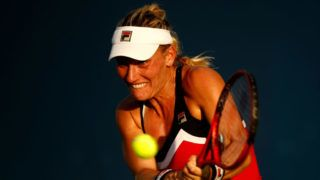 NEW YORK, NY - AUGUST 28:  Timea Babos of Hungary returns the ball during her women's singles first round match against Daria Kasatkina of Russia on Day Two of the 2018 US Open at the USTA Billie Jean King National Tennis Center on August 28, 2018 in the Flushing neighborhood of the Queens borough of New York City.  (Photo by Julian Finney/Getty Images)