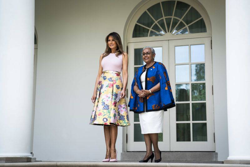 WASHINGTON, DC - AUGUST 27 : First lady Melania Trump greets first lady Margaret Gakuo Kenyatta outside of the Oval Office at the White House on Monday, Aug 27, 2018 in Washington, DC. (Photo by Jabin Botsford/The Washington Post via Getty Images)