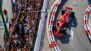 MILANO, ITALY - AUGUST 29: Sebastian Vettel of Germany and Ferrari touches the wall during Formula 1 Milan Festival 2018 part of the Formula One Grand Prix of Italy at Autodromo di Monza on August 29, 2018 in Milano, Italy. (Photo by Guido de Bortoli/Getty Images)