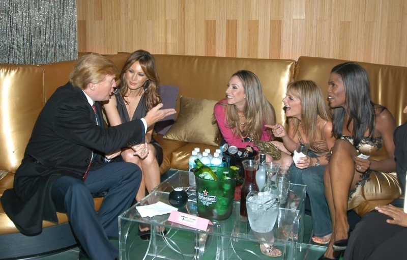 Donald Trump, Melenia Knauss, Katrina Campins, Heidi Bressler and Omarosa (Photo by Jamie McCarthy/WireImage for In Touch Weekly)