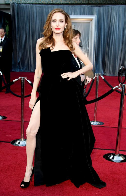 HOLLYWOOD, CA - FEBRUARY 26: Actor Angelina Jolie arrives at the 84th Annual Academy Awards held at Hollywood & Highland Centre on February 26, 2012 in Hollywood, California. (Photo by Dan MacMedan/WireImage)