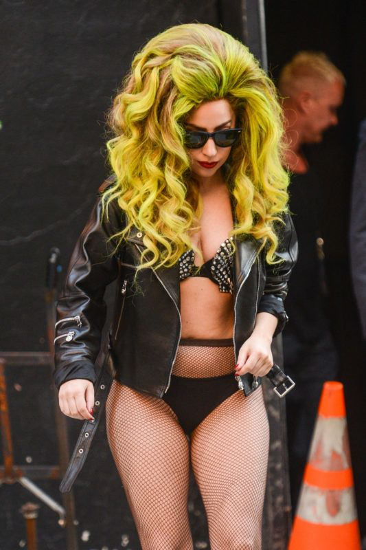 """NEW YORK, NY - APRIL 02:  Singer Lady Gaga enters the """"Late Show With David Letterman"""" at the Ed Sullivan Theater on April 2, 2014 in New York City.  (Photo by Ray Tamarra/WireImage)"""