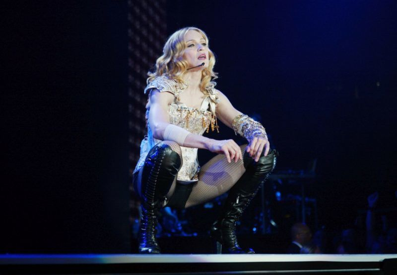 """INGLEWOOD, CA - MAY 24:  Singer/actress Madonna performs onstage during the opening night of her """"Re-Invention"""" World Tour 2004 at The Great Western Forum, May 24, 2004 in Inglewood, California.  (Photo by Frank Micelotta/Getty Images)"""