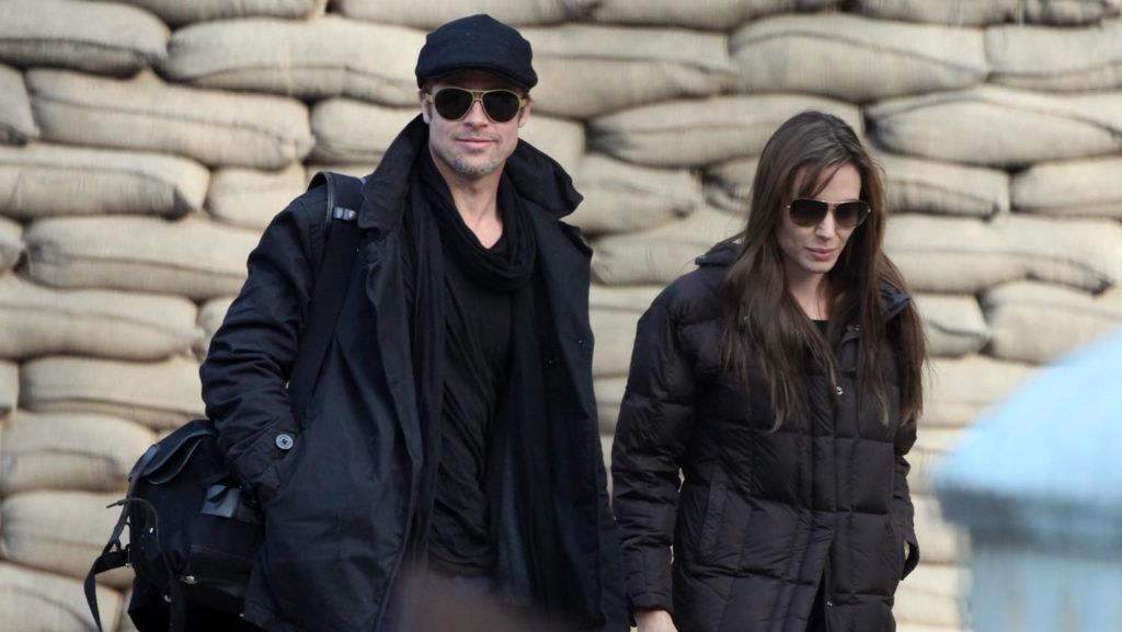 ©2010 RAMEY PHOTO USA SAF ONLY Brad and Angelina in Budapest in love on the set of the first Angelina's movie as director 101310 EYEWITNESS (Photo by Philip Ramey/Corbis via Getty Images)
