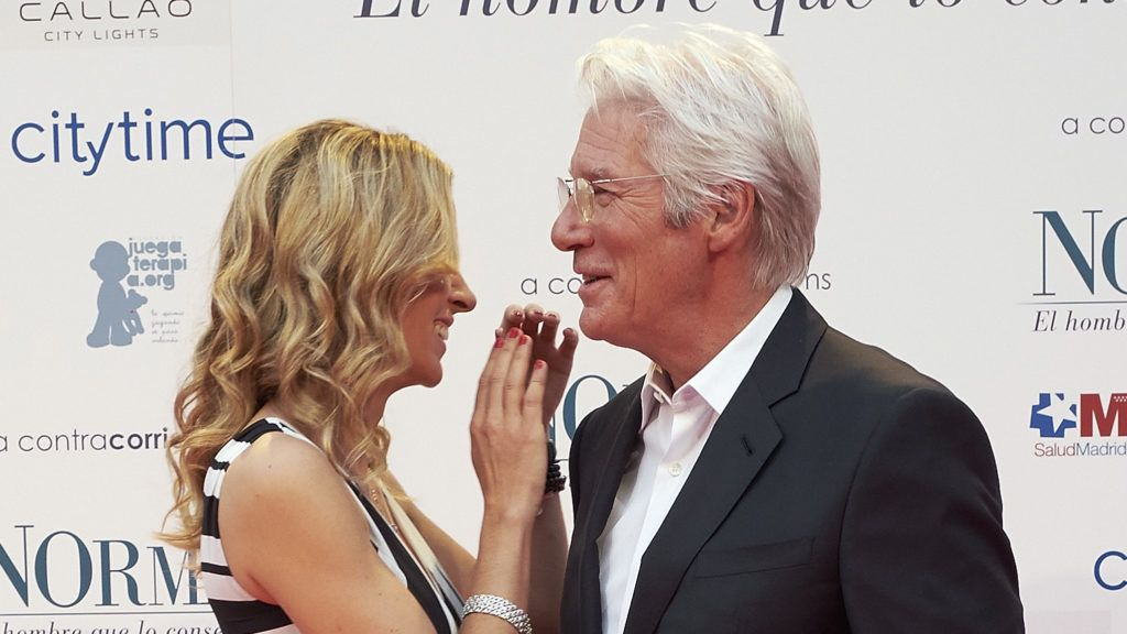MADRID, SPAIN - MAY 31:  (L-R) Alejandra Silva and Richard Gere attend the 'Norman: The Moderate Rise and Tragic Fall of a New York Fixer' (Norman: El Hombre Que Lo Conseguia Todo) premiere at the Callao cinema on May 31, 2017 in Madrid, Spain.  (Photo by Fotonoticias/FilmMagic)