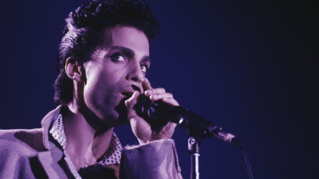 American singer-songwriter and musician, Prince (1958-2016) performs on stage on the Hit N Run-Parade Tour at Wembley Arena, London in August 1986. (Photo by Michael Putland/Getty Images)