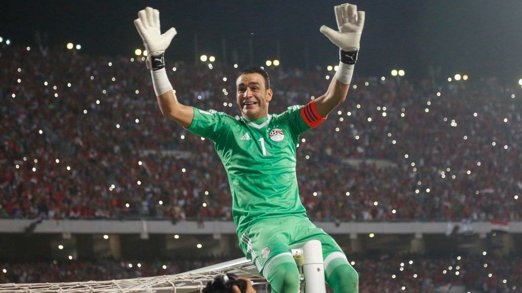 Egypts Essam Elhadry celebrating World Cup access and victory over Congo during the 2018 World Cup group E qualifying soccer match at Borg El Arab Stadium in Alexandria, Egypt, Sunday, Oct. 8, 2017. (Photo by Islam Safwat/NurPhoto via Getty Images)
