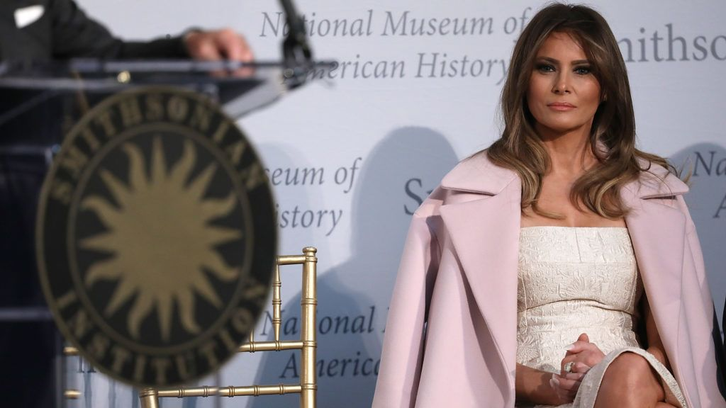 WASHINGTON, DC - OCTOBER 20:  U.S. first lady Melania Trump attends an event at the Smithsonian National Museum of American History where the first lady donated her inaugural gown to the museum October 20, 2017 in Washington, DC. The first lady said, ÒToday is such an honor as I dedicate my inaugural couture piece to the First Ladies exhibit at the National Museum of American History.Ó  (Photo by Win McNamee/Getty Images)