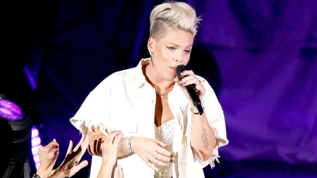 """HOLLYWOOD, CA - OCTOBER 21:  Alecia Beth Moore aka Pink performs onstage during the CBS Radio presents 5th Annual """"We Can Survive"""" concert held at the Hollywood Bowl on October 21, 2017 in Hollywood, California.  (Photo by Michael Tran/FilmMagic)"""