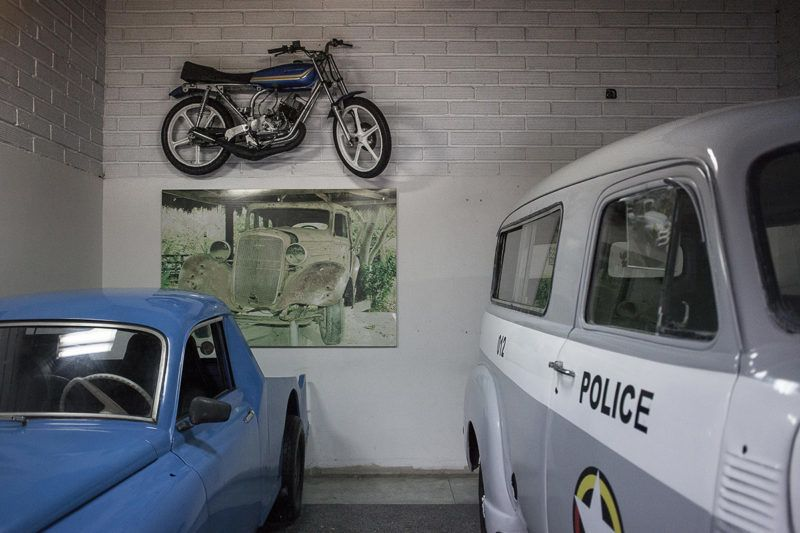Vehicles sit on display at the Casa Museo Pablo Escobar in Medellin, Colombia, on Tuesday, Oct. 3, 2017. In Colombia, where more than 200,000 people have died in conflict over the past half-century, residents find the boom in narco-tourism upsetting. Photographer: Fabiola Ferrero/Bloomberg via Getty Images