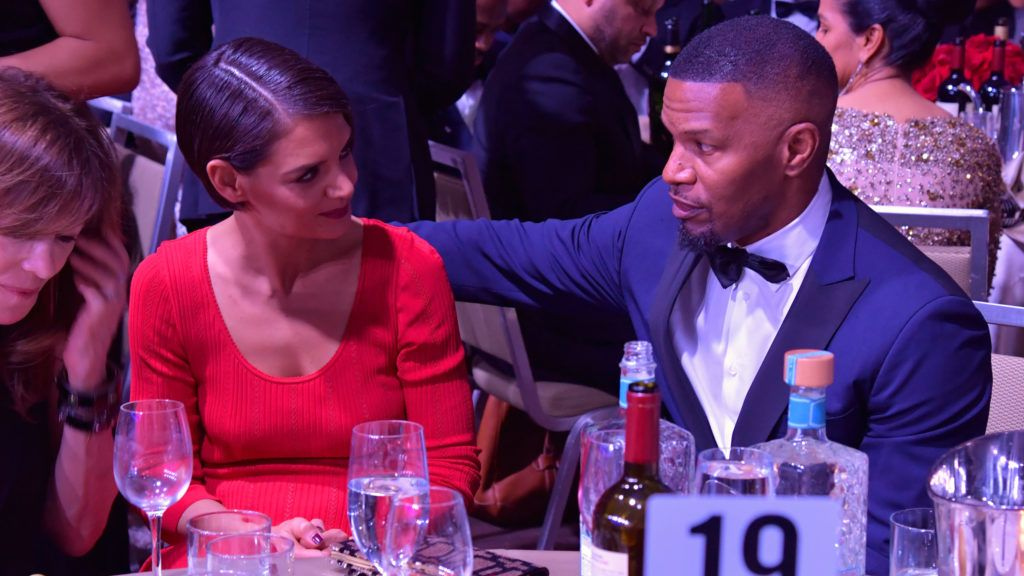 NEW YORK, NY - JANUARY 27:  Actors Katie Holmes (L) and Jamie Foxx attend the Clive Davis and Recording Academy Pre-GRAMMY Gala and GRAMMY Salute to Industry Icons Honoring Jay-Z on January 27, 2018 in New York City.  (Photo by Lester Cohen/Getty Images for NARAS)