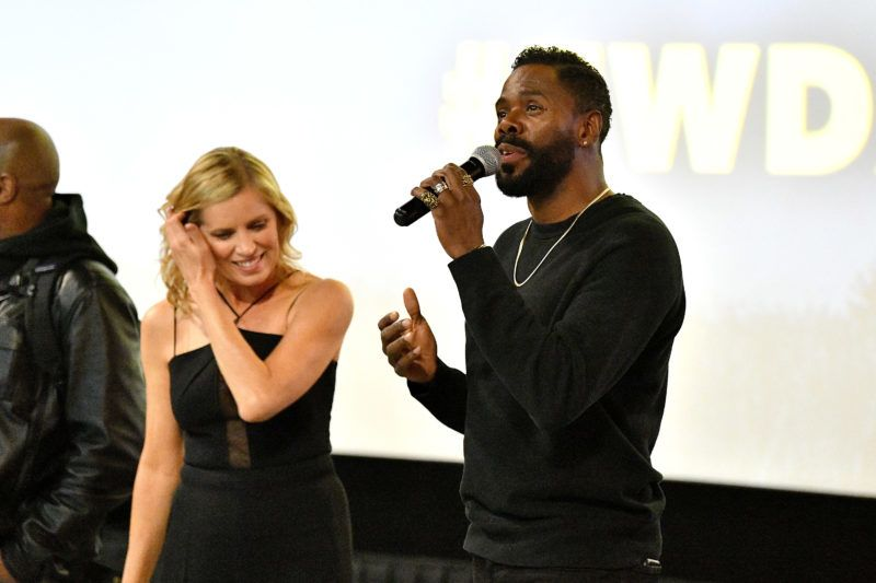 NEW YORK, NY - APRIL 15:  Colman Domingo (R) and Kim Dickens speak at the AMC Survival Sunday The Walking Dead/Fear the Walking Dead at AMC Empire on April 15, 2018 in New York City.  (Photo by Dia Dipasupil/Getty Images for AMC)
