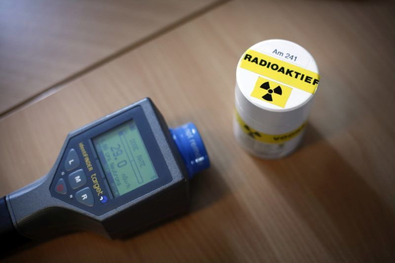 NETHERLANDS - APRIL 22:  A radiation detector and radioactive material in a sealed container sit inside an office at the Jewometaal Stainless Processing B.V. plant in Rotterdam, The Netherlands, on Tuesday, April 22, 2008. The International Atomic Energy Agency said that countries must increase regulations and support for its recycled metal industry or risk radiation threatening the $88 billion industry for recycled metal, which is used in everything from Chinese wristwatch bands to American beer cans.  (Photo by Roger Cremers/Bloomberg via Getty Images)