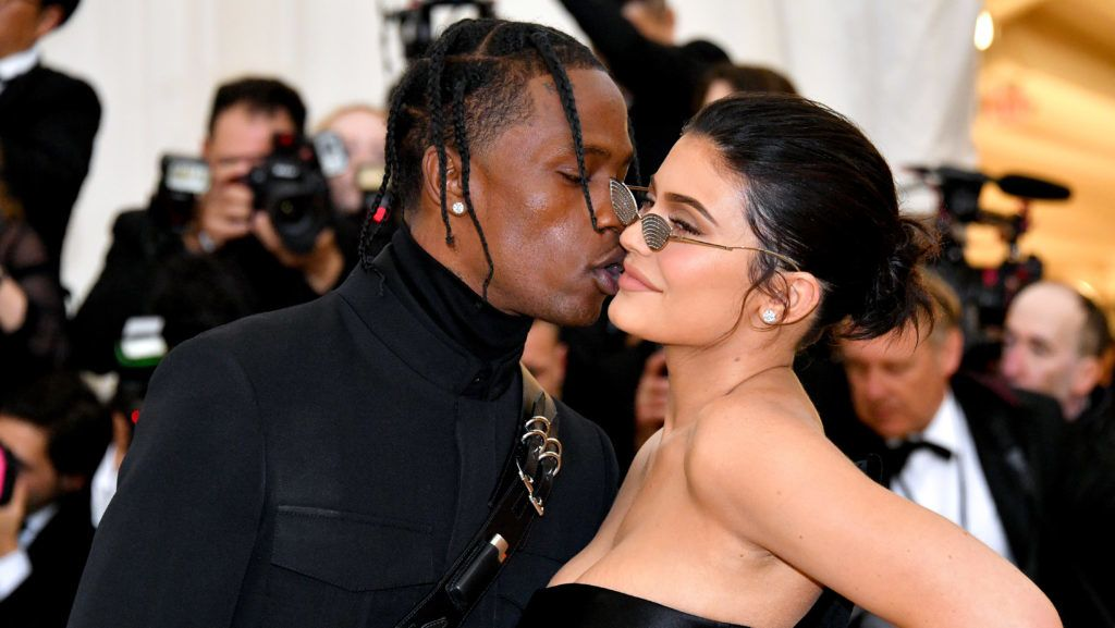 NEW YORK, NY - MAY 07:  Travis Scott and Kylie Jenner attend the Heavenly Bodies: Fashion & The Catholic Imagination Costume Institute Gala at The Metropolitan Museum of Art on May 7, 2018 in New York City.  (Photo by Dia Dipasupil/WireImage)