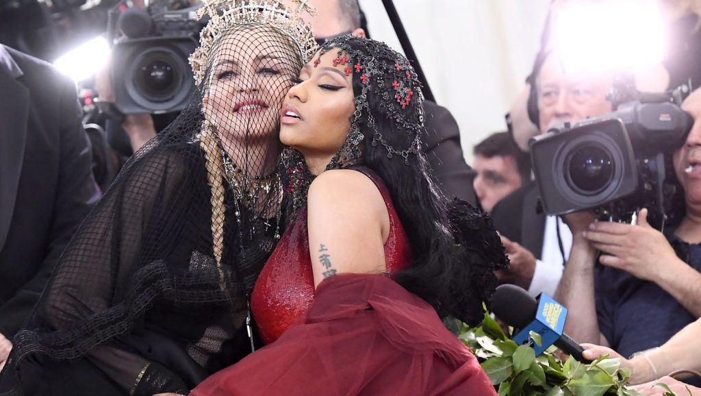 NEW YORK, NY - MAY 07:  Recording artists Madonna and Nicki Minaj attend the Heavenly Bodies: Fashion & The Catholic Imagination Costume Institute Gala at The Metropolitan Museum of Art on May 7, 2018 in New York City.  (Photo by Noam Galai/Getty Images for New York Magazine)