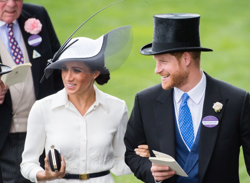 ASCOT, ENGLAND - JUNE 19:  Meghan, Duchess of Sussex and Prince Harry, Duke of Sussex attend Royal Ascot Day 1 at Ascot Racecourse on June 19, 2018 in Ascot, United Kingdom.  (Photo by Samir Hussein/Samir Hussein/WireImage)