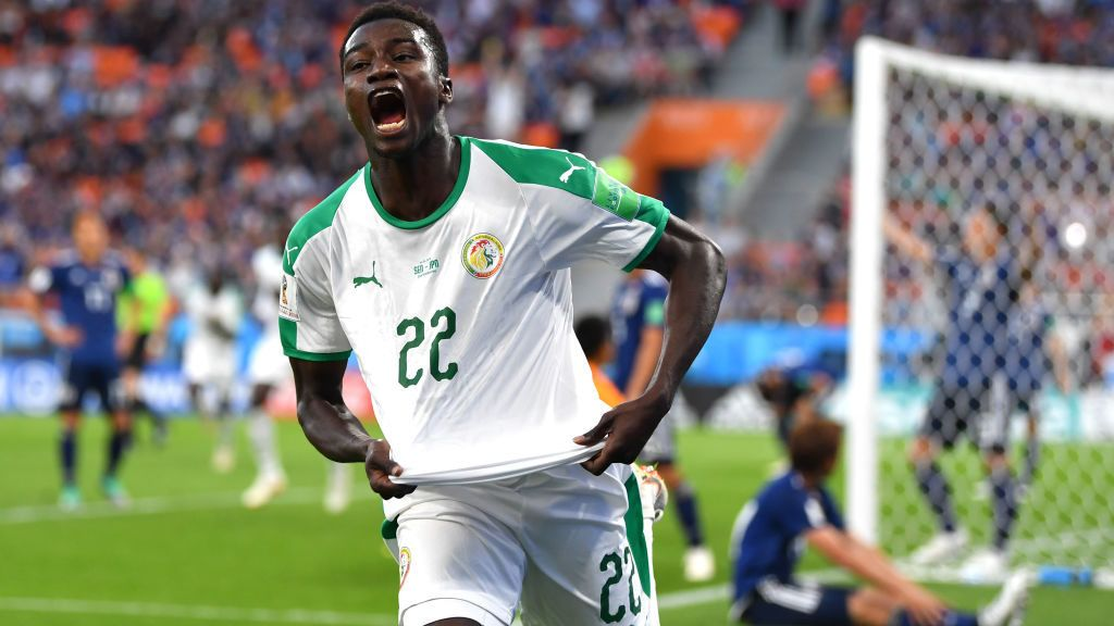 YEKATERINBURG, RUSSIA - JUNE 24:  Moussa Wague of Senegal celebrates after scoring his team's second goal during the 2018 FIFA World Cup Russia group H match between Japan and Senegal at Ekaterinburg Arena on June 24, 2018 in Yekaterinburg, Russia.  (Photo by Dan Mullan/Getty Images)