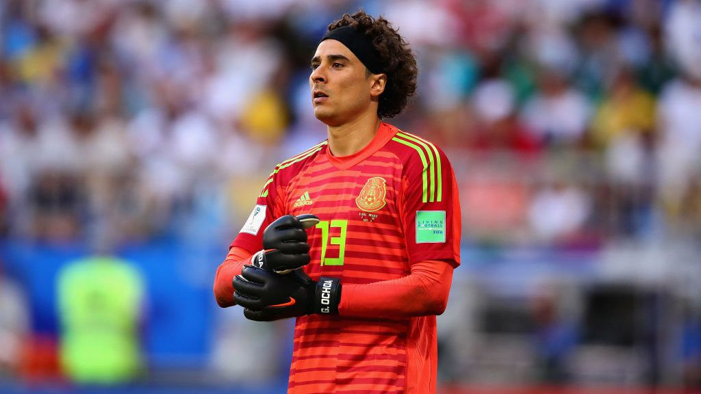 SAMARA, RUSSIA - JULY 02: Guillermo Ochoa of Mexico looks on during the 2018 FIFA World Cup Russia Round of 16 match between Brazil and Mexico at Samara Arena on July 2, 2018 in Samara, Russia.  (Photo by Chris Brunskill/Fantasista/Getty Images)