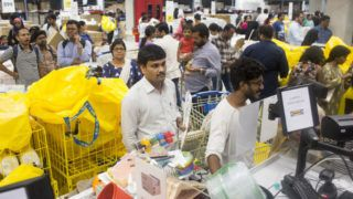 Customers stand in line at check-out counters inside the Ikea store in Hitech City on the outskirts of Hyderabad, India, on Thursday, Aug. 9, 2018. Ikea's blue-and-yellow stores are instantly recognizable: iconic, monolithic and now, asIndia's first storethrows open its doors to the masses today, operating in more than 400 stores in some 50countries. Photographer: Udit Kulshrestha/Bloomberg via Getty Images