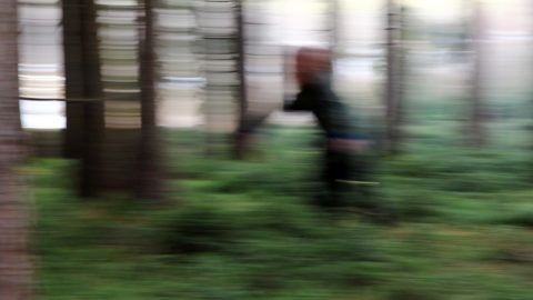 Blurred picture - A woman in the forest