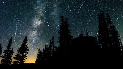 Perseid meteor shower and the Milky Way over Cedar Breaks National Monument, UT.