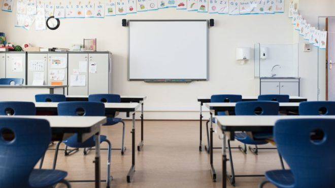 School desk and chairs in empty modern classroom. Empty class room with white board and projector in elementary school. Primary classroom with smartboard and alphabet on wall.