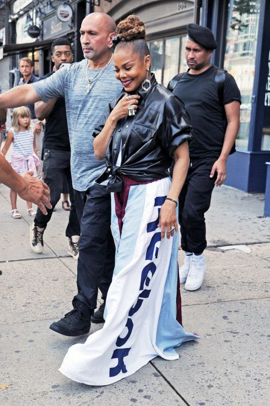 Janet Jackson steps out in an oversized Reebok pants. 16 Aug 2018 Pictured: Janet Jackson. Photo credit: MEGA  TheMegaAgency.com +1 888 505 6342 August  , 2018 *** Local Caption *** MEGA263460_006