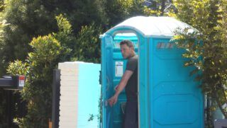 PREMIUM EXCLUSIVE Please contact X17 before any use of these exclusive photos - x17@x17agency.comWednesday, August 8, 2018 - Is Ben Affleck having plumbing problems in the bathrooms at his new $20 million Pacific Palisades mansion?! We caught the A-list actor using his construction worker's portable toilet today outside the front gate of his palatial pad!!! Maybe this is where he changes out of his Batman costume into civilian clothes?!- X17online.com August 8, 2018