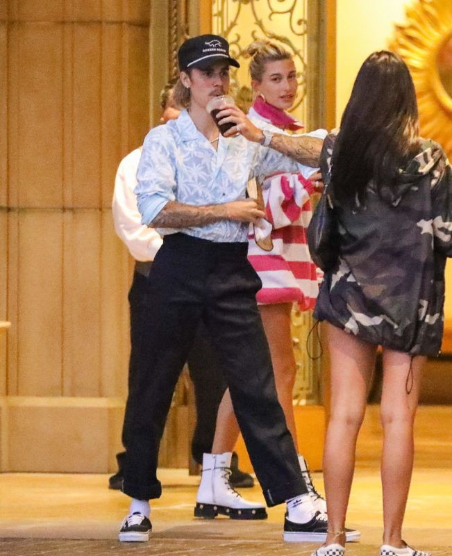 Dressed in art dad style,  Justin Bieber and Hailey Baldwin dressed funny as they leave to church august 29, 2018  /X17online.com August 29, 2018