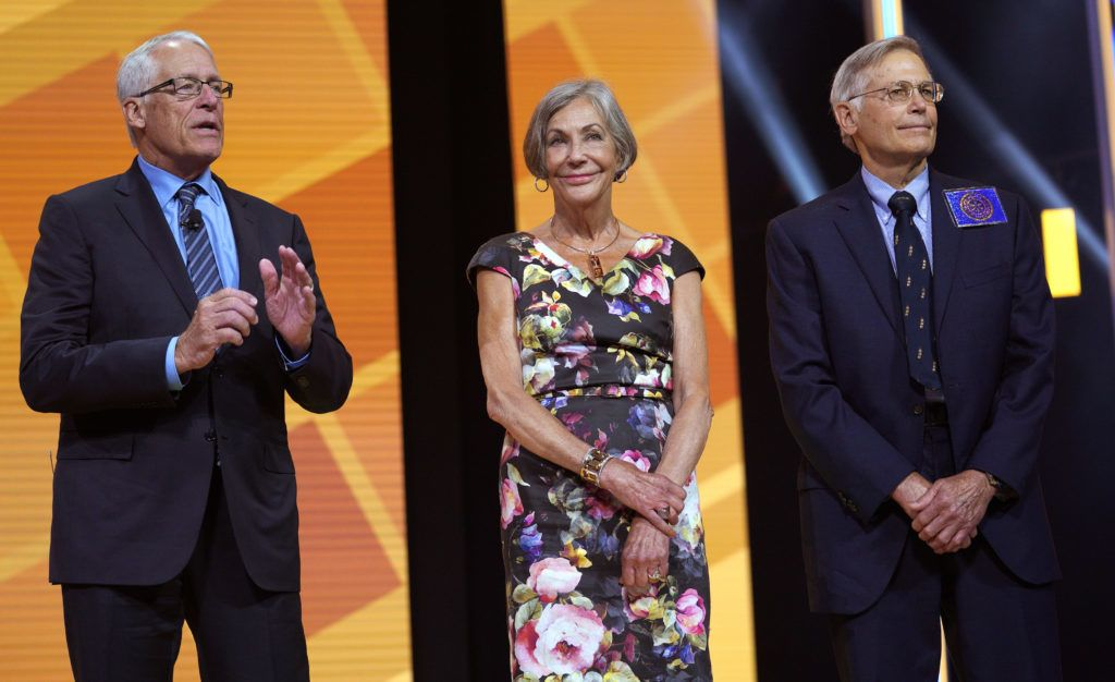 FAYETTEVILLE, AR - JUNE 1: Members of the Walton family (L-R) Rob, Alice and Jim speak during the annual Walmart shareholders meeting event on June 1, 2018 in Fayetteville, Arkansas. The shareholders week brings thousands of shareholders and associates from around the world to meet at the company's global headquarters.   Rick T. Wilking/Getty Images/AFP