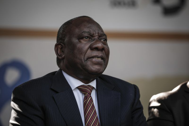 South African President Cyril Ramaphosa attends the 2018 National Youth Day Commemoration under the theme, 'Live the legacy: Towards a socio-economically empowered youth' in Orlando Stadium in Soweto on June 16, 2018. / AFP PHOTO / GULSHAN KHAN