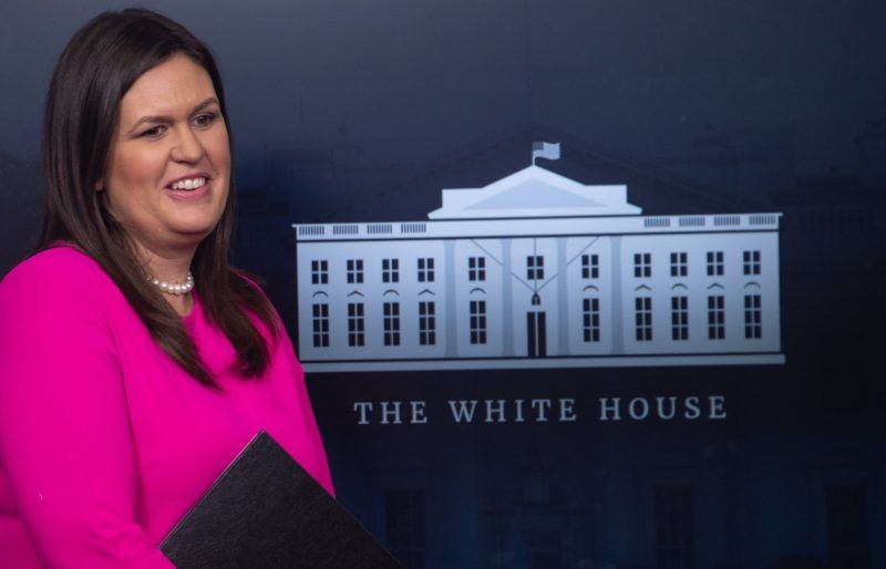 White House spokesperson Sarah Huckabee Sanders speaks during a briefing at the White House in Washoington, DC, on September 10, 2018. / AFP PHOTO / NICHOLAS KAMM