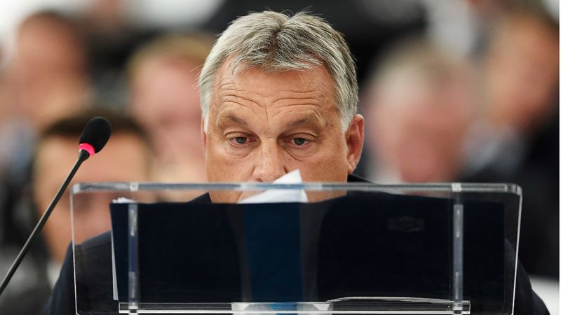 Hungary's Prime Minister Viktor Orban arrives to attend a debate concerning Hungary's situation during a plenary session  at the European Parliament on September 11, 2018 in Strasbourg, eastern France. / AFP PHOTO / FREDERICK FLORIN