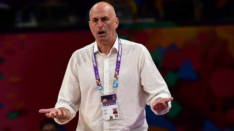 Hungary's head coach Stojan Ivkovic gestures during the FIBA Eurobasket 2017 men's round 16 basketball match between Serbia and Hungary at Sinan Erdem Sport Arena in Istanbul on September 10, 2017. / AFP PHOTO / OZAN KOSE