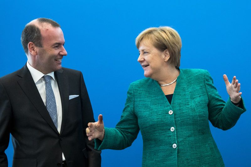 (L-R) Parliament leader of European People's Party (EPP) Manfred Weber and German Chancellor Angela Merkel are pictured prior to a national board meeting of the CDU (Christian Democratic Union) at Konrad-Adenauer Haus in Berlin, Germany on September 10, 2018. (Photo by Emmanuele Contini/NurPhoto)