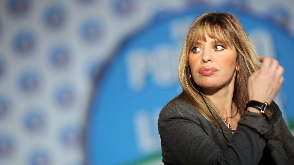 Italy's far-right Alessandra Mussolini waits for first official projections at the Italy's conservative leader Silvio Berlusconi's campaign headquarter in Rome on April 14, 2008. Italian billionaire Silvio Berlusconi's centre-right coalition has an advantage of five percentage points in the crucial race for the Senate, according to partial official results. AFP PHOTO / Filippo Monteforte / AFP PHOTO / FILIPPO MONTEFORTE