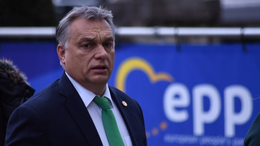 Hungary's Prime minister Viktor Orban arrives to attend a meeting of the European People's Party (PPE) in Brussels on December 14, 2017, ahead of a summit of European Union (EU) leaders. European leaders will discuss the migration crisis and defence on December 14, followed by Brexit the day after. / AFP PHOTO / Riccardo PAREGGIANI