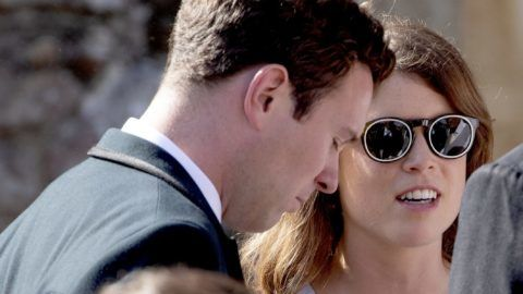 Princess Eugenie of York and Jack Brooksbank leave at the Saint Mary The Virgin in Frensham, on August 04, 2018, after attending the Wedding of Charlie Van Straubenzee and Daisy Jenks Photo : Albert Nieboer /  Netherlands OUT / Point de Vue OUT |