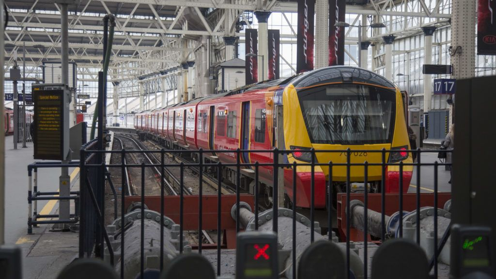 Train at of London Waterloo Station on 21 Febrauray 2018. London Waterloo station is one of the central station in the National Rail network in the United Kingdom. It is located in the Waterloo area and is connected to Underground also. The station was opened in July 11  1848.  (Photo by Nicolas Economou/NurPhoto)
