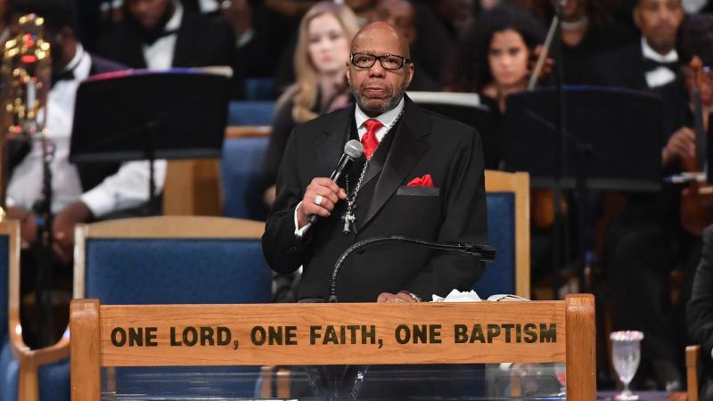 Rev. Jasper Williams Jr. gives eulogy at Aretha Franklin's funeral at Greater Grace Temple on August 31, 2018 in Detroit, Michigan. / AFP PHOTO / Angela Weiss