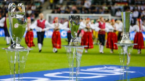 UEFA Champions League Cup, UEFA Super Cup and UEFA Europa League Cup are seen during the opening ceremony ahead of the UEFA Super Cup match between Real Madrid and Atletico Madrid on August 15, 2018 at Lillekula Stadium in Tallinn, Estonia. (Photo by Mike Kireev/NurPhoto via Getty Images)