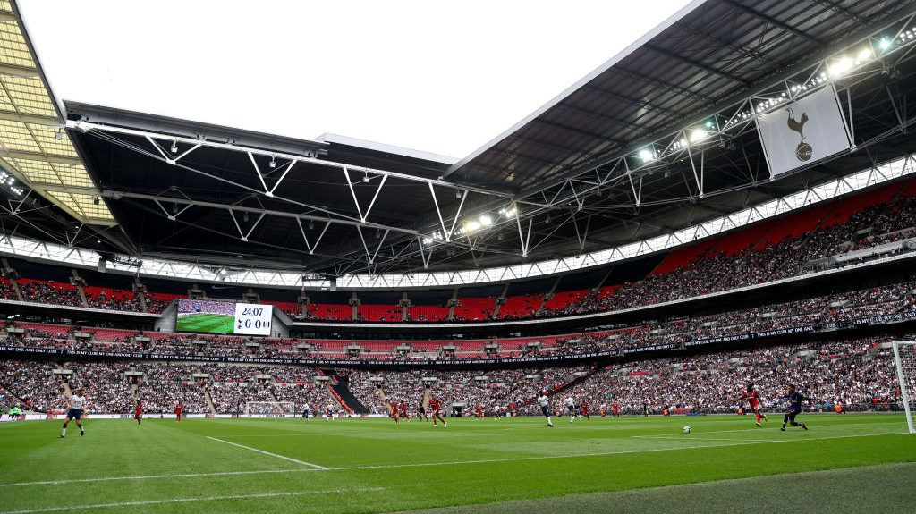 LONDON, ENGLAND - AUGUST 18:  General view inside the stadium during the Premier League match between Tottenham Hotspur and Fulham FC at Wembley Stadium on August 18, 2018 in London, United Kingdom.  (Photo by Julian Finney/Getty Images)