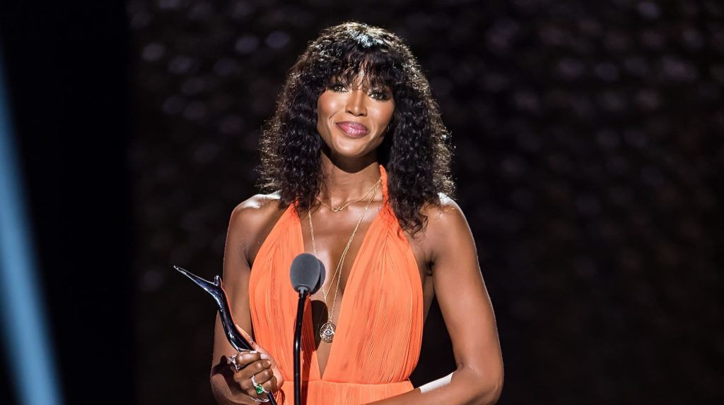 NEWARK, NJ - AUGUST 26:  Model and Black Girl Magic Award Award recipient Naomi Campbell speaks on stage during the 2018 Black Girls Rock! at New Jersey Performing Arts Center on August 26, 2018 in Newark, New Jersey.  (Photo by Gilbert Carrasquillo/WireImage)