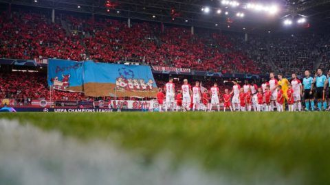 SALZBURG, AUSTRIA - AUGUST 29: Players of FC Salzburg line up prior to the UEFA Champions League match between FC Salzburg v Red Star Belgrade at Red Bull Arena on August 29, 2018 in Salzburg, Austria. (Photo by Josef Bollwein/SEPA.Media /Getty Images)