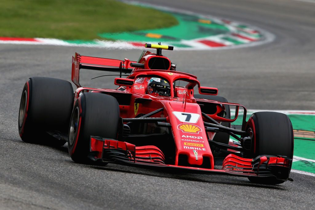 MONZA, ITALY - SEPTEMBER 01: Kimi Raikkonen of Finland driving the (7) Scuderia Ferrari SF71H on track during qualifying for the Formula One Grand Prix of Italy at Autodromo di Monza on September 1, 2018 in Monza, Italy.  (Photo by Charles Coates/Getty Images)