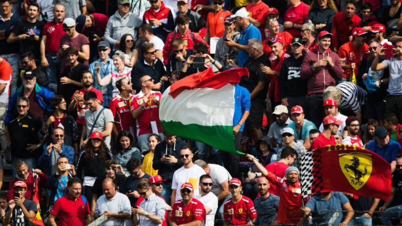 MONZA, ITALY - SEPTEMBER 01:  Ferrari fans watch the action during qualifying for the Formula One Grand Prix of Italy at Autodromo di Monza on September 1, 2018 in Monza, Italy.  (Photo by Lars Baron/Getty Images)