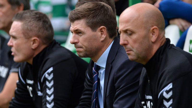 GLASGOW, SCOTLAND - SEPTEMBER 02:  Steven Gerrard, Manager of Rangers looks on during the Scottish Premier League match between Celtic and Rangers at Celtic Park Stadium on September 2, 2018 in Glasgow, Scotland.  (Photo by Mark Runnacles/Getty Images)