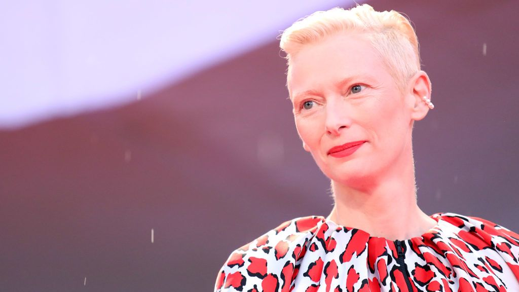 VENICE, ITALY - SEPTEMBER 03:  Tilda Swinton walks the red carpet ahead of the 'At Eternity's Gate' screening during the 75th Venice Film Festival at Sala Grande on September 3, 2018 in Venice, Italy.  (Photo by Maria Moratti/Contigo/Getty Images)